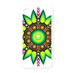 Design Elements Star Flower Floral Circle Apple Iphone 4 Case (white) by Alisyart