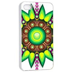 Design Elements Star Flower Floral Circle Apple Iphone 4/4s Seamless Case (white)