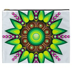 Design Elements Star Flower Floral Circle Cosmetic Bag (xxxl)