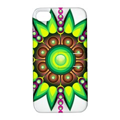 Design Elements Star Flower Floral Circle Apple Iphone 4/4s Hardshell Case With Stand by Alisyart
