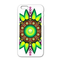 Design Elements Star Flower Floral Circle Apple Iphone 6/6s White Enamel Case by Alisyart