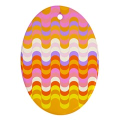Dna Early Childhood Wave Chevron Rainbow Color Ornament (oval)