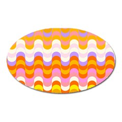 Dna Early Childhood Wave Chevron Rainbow Color Oval Magnet