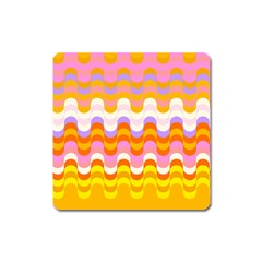 Dna Early Childhood Wave Chevron Rainbow Color Square Magnet by Alisyart