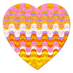 Dna Early Childhood Wave Chevron Rainbow Color Jigsaw Puzzle (heart) by Alisyart