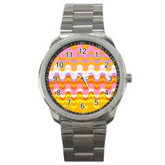 Dna Early Childhood Wave Chevron Rainbow Color Sport Metal Watch