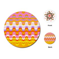 Dna Early Childhood Wave Chevron Rainbow Color Playing Cards (round)