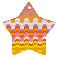 Dna Early Childhood Wave Chevron Rainbow Color Star Ornament (two Sides) by Alisyart