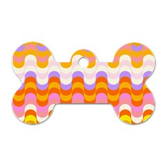 Dna Early Childhood Wave Chevron Rainbow Color Dog Tag Bone (one Side) by Alisyart