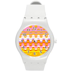 Dna Early Childhood Wave Chevron Rainbow Color Round Plastic Sport Watch (m)