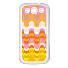 Dna Early Childhood Wave Chevron Rainbow Color Samsung Galaxy S3 Back Case (white) by Alisyart