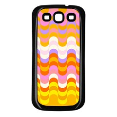 Dna Early Childhood Wave Chevron Rainbow Color Samsung Galaxy S3 Back Case (black) by Alisyart