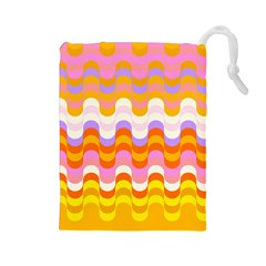 Dna Early Childhood Wave Chevron Rainbow Color Drawstring Pouches (large)  by Alisyart