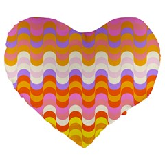 Dna Early Childhood Wave Chevron Rainbow Color Large 19  Premium Flano Heart Shape Cushions by Alisyart