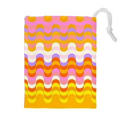 Dna Early Childhood Wave Chevron Rainbow Color Drawstring Pouches (extra Large)