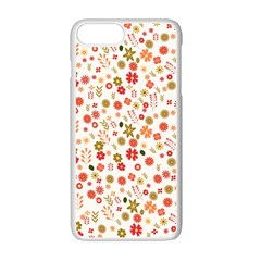 Floral Pattern Apple Iphone 7 Plus White Seamless Case by Valentinaart