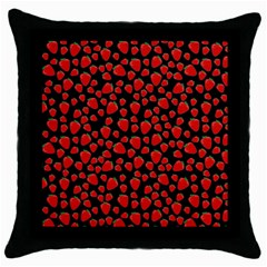 Strawberry  Pattern Throw Pillow Case (black) by Valentinaart
