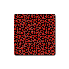 Strawberry  Pattern Square Magnet by Valentinaart