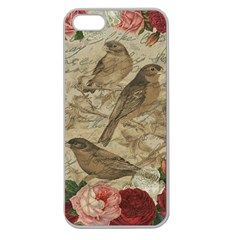 Vintage Birds Apple Seamless Iphone 5 Case (clear) by Valentinaart