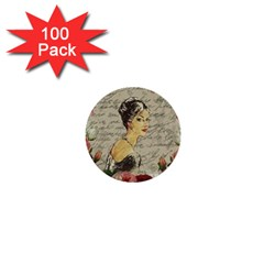 Vintage Girl 1  Mini Buttons (100 Pack)