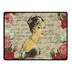 Vintage Girl Fleece Blanket (small) by Valentinaart