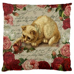 Vintage Kitten  Large Cushion Case (two Sides) by Valentinaart