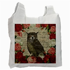 Vintage Owl Recycle Bag (one Side) by Valentinaart