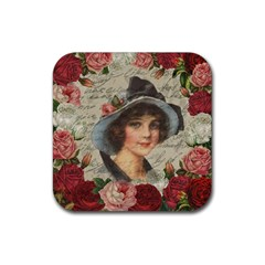 Vintage Girl Rubber Coaster (square)  by Valentinaart