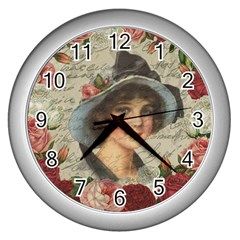 Vintage Girl Wall Clocks (silver)  by Valentinaart