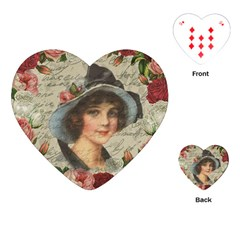 Vintage Girl Playing Cards (heart)  by Valentinaart