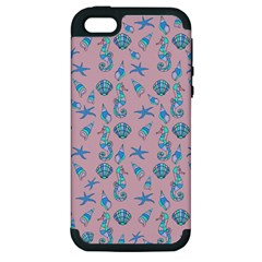 Seahorse Pattern Apple Iphone 5 Hardshell Case (pc+silicone) by Valentinaart
