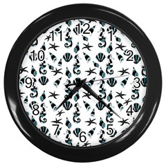 Seahorse Pattern Wall Clocks (black)