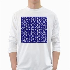 Seahorse Pattern White Long Sleeve T Shirts