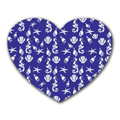 Seahorse Pattern Heart Mousepads