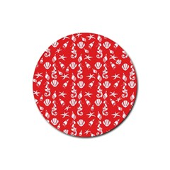 Seahorse Pattern Rubber Round Coaster (4 Pack)