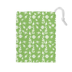 Seahorse Pattern Drawstring Pouches (large)  by Valentinaart