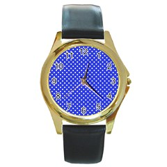 Polka Dots Round Gold Metal Watch