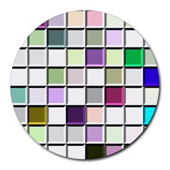 Color Tiles Abstract Mosaic Background Round Mousepads by Simbadda