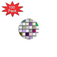 Color Tiles Abstract Mosaic Background 1  Mini Magnets (100 Pack)  by Simbadda