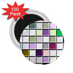 Color Tiles Abstract Mosaic Background 2 25  Magnets (100 Pack)  by Simbadda