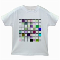 Color Tiles Abstract Mosaic Background Kids White T Shirts