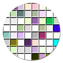 Color Tiles Abstract Mosaic Background Magnet 5  (round) by Simbadda