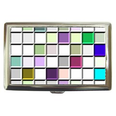 Color Tiles Abstract Mosaic Background Cigarette Money Cases by Simbadda