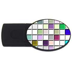 Color Tiles Abstract Mosaic Background Usb Flash Drive Oval (2 Gb) by Simbadda