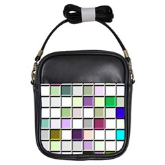 Color Tiles Abstract Mosaic Background Girls Sling Bags by Simbadda