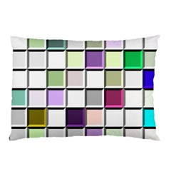Color Tiles Abstract Mosaic Background Pillow Case (two Sides) by Simbadda