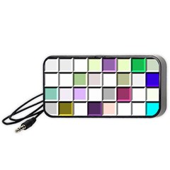 Color Tiles Abstract Mosaic Background Portable Speaker (black) by Simbadda