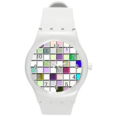 Color Tiles Abstract Mosaic Background Round Plastic Sport Watch (m) by Simbadda