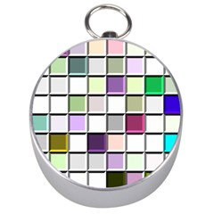 Color Tiles Abstract Mosaic Background Silver Compasses by Simbadda