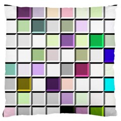 Color Tiles Abstract Mosaic Background Large Flano Cushion Case (one Side) by Simbadda